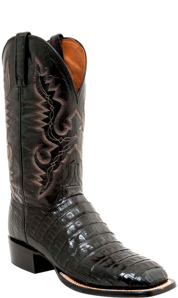 Lucchese CL1009.WF TRENT Mens Black Belly Caiman Crocodile Tail Boots Size 10.5 D STALL STOCK