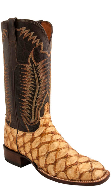 Lucchese Brooks Mens Sand Shag Pirarucu Cowboy Boots CL1011.W8S - Made in America