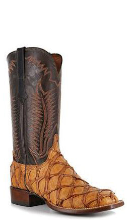 Lucchese Brooks Mens Cognac Pirarucu Cowboy Boots CL1012.W8S  - Made in America