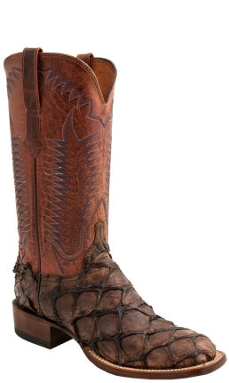 Lucchese Brooks Mens Pirarucu Chocolate Brown Boots CL1013 - Made in America