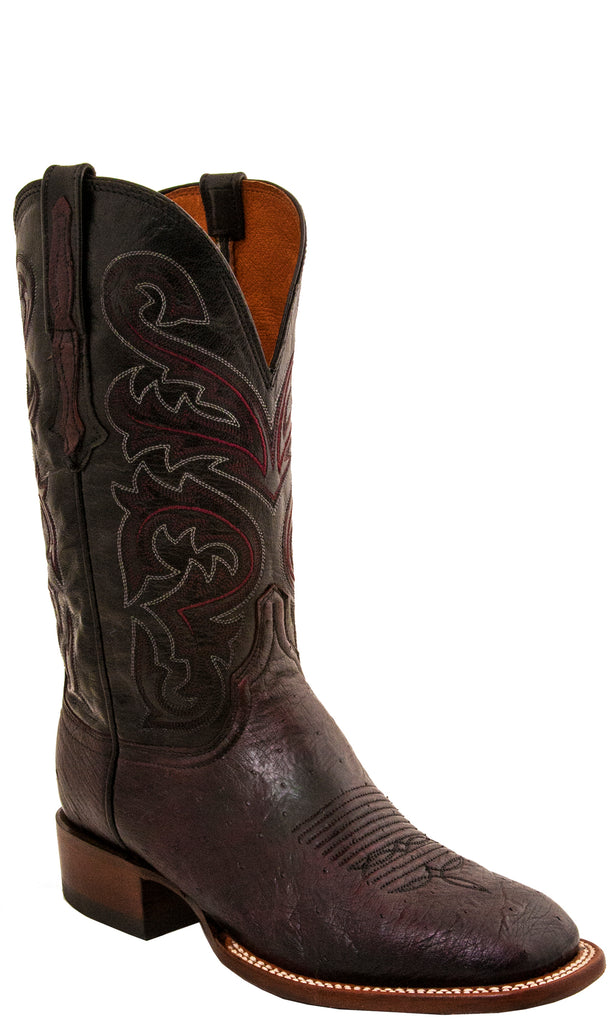 Lucchese CX1015.W8 LANCE Mens Black Cherry Smooth Ostrich Boots