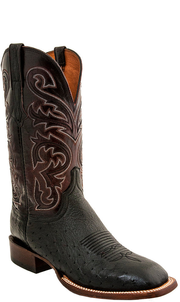 Lucchese Lance Mens Smooth Ostrich Black Cowboy Boots CL1016.W8 - Made in America