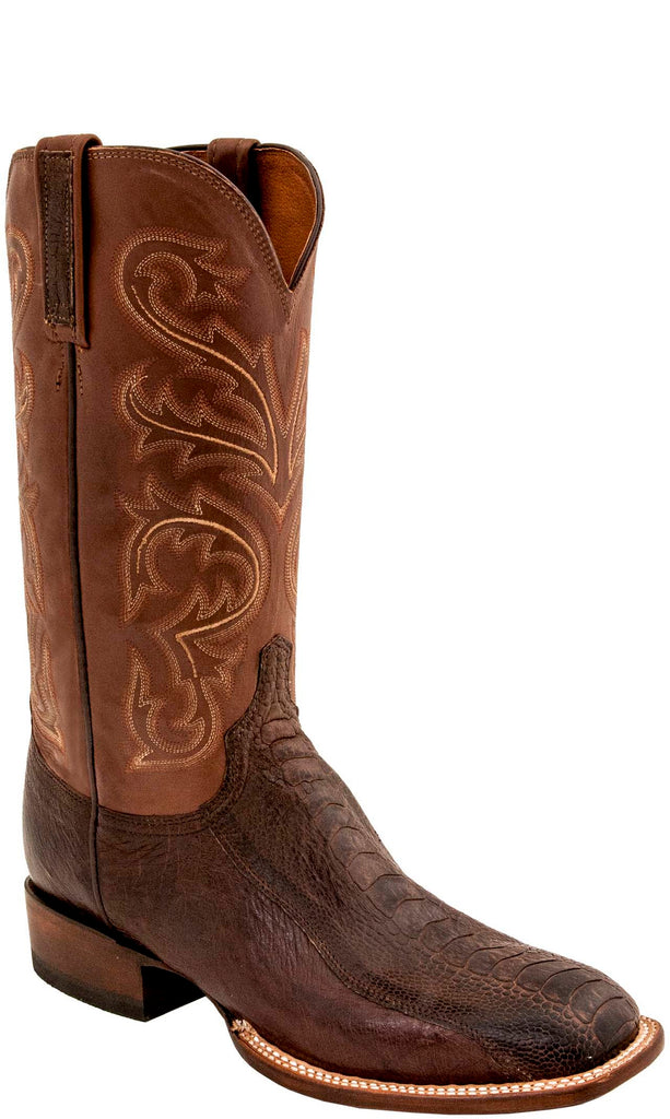 Lucchese CL1017.W8 STEWART Mens Chocolate Burnished Ostrich Leg Boots