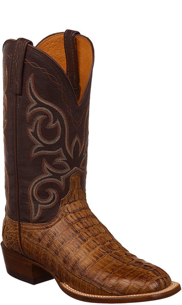 Lucchese HAAN C1019 Mens Hornback Caiman Crocodile Tail Tan Burnished Boots