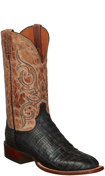 Lucchese CL1020.W8S HAAN Mens Black Hornback Caiman Crocodile Tail Boots
