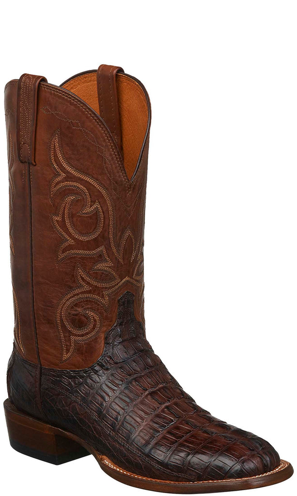 Lucchese CL1021.W8S Haan Mens Barrel Brown Hornback Caiman Crocodile Tail Boots