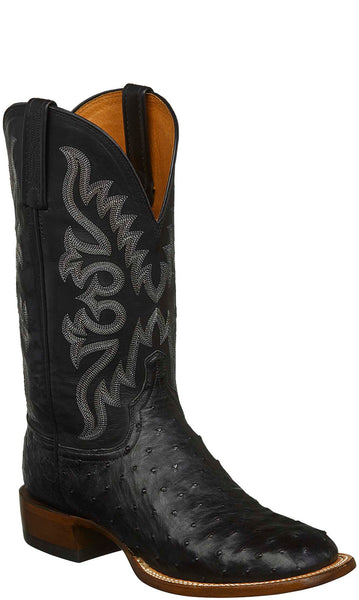 Lucchese CL1023.W8S HARMON Mens Black Full Quill Ostrich Boots
