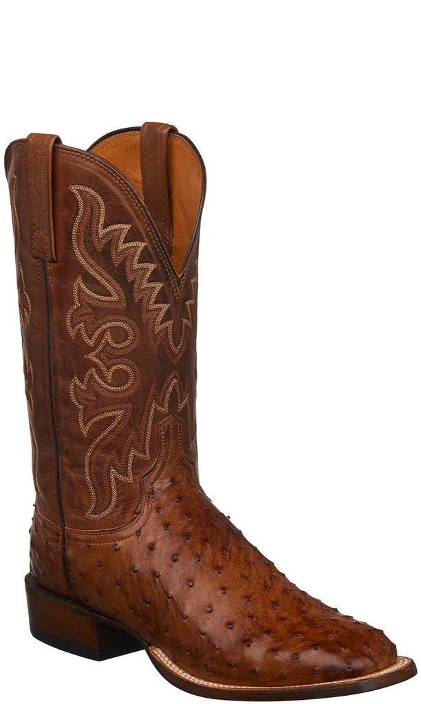 Lucchese Harmon Mens Brown Full Quill Ostrich Cowboy Boots CL1024 - Made in America