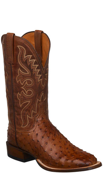 Lucchese CL1024.W8S HARMON Mens Barnwood Burnished Full Quill Ostrich Boots