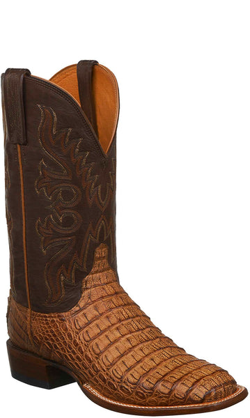 Lucchese CL1025.W8S Fisher Mens Tan Burnished Hornback Caiman Crocodile Boots