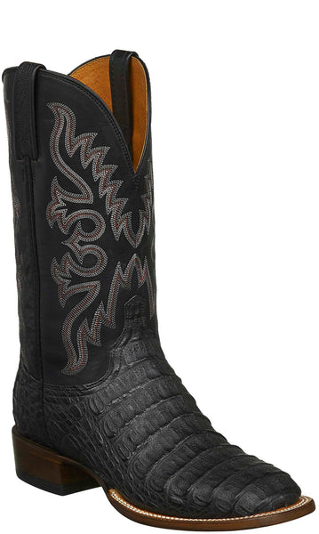 Lucchese CL1026.W8S FISHER Mens Black Hornback Caiman Crocodile Boots