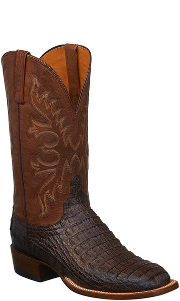 Lucchese C1027 FISHER Mens Barrel Brown Burnished Hornback Caiman Crocodile Boot