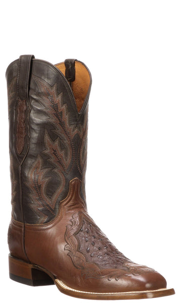 Lucchese Bartley Mens Tan Calfskin with Exotic Inlay Cowboy Boots CL1049.WF