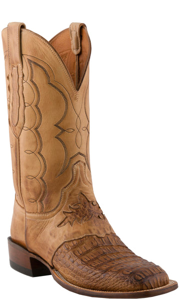 Lucchese CL1063.W8S LEE Mens Tan Hornback Caiman Crocodile Boots Size 10.5 EE STALL STOCK
