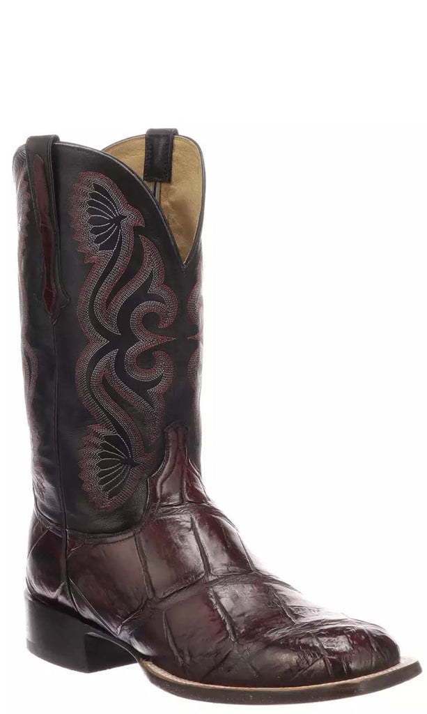 Lucchese Roy Mens Black Cherry Giant American Alligator Boots CL1071 - Made in America