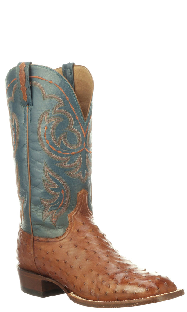 Lucchese Harris CL1081.W8 Mens Antiqued Brandy Full Quill Ostrich Boots