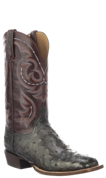 Lucchese Harris CL1083.W8 Mens Antiqued Anthracite Grey Full Quill Ostrich Boots