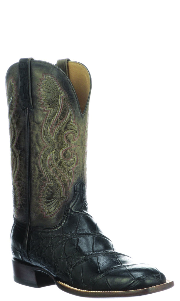 Lucchese Roy Mens Black Giant American Alligator Boots CL1084 - Made in America