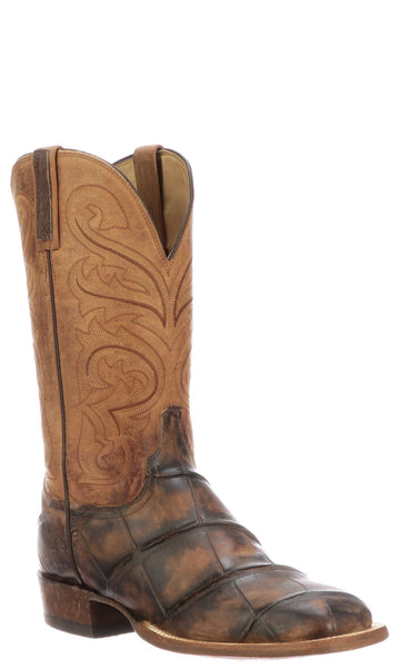 Lucchese Russell CL1086.W8 Mens Stonewashed Chocolate Giant Alligator Boots