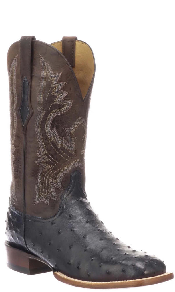 Lucchese Cliff CL1117.W8 Mens Antique Navy Full Quill Ostrich Boots