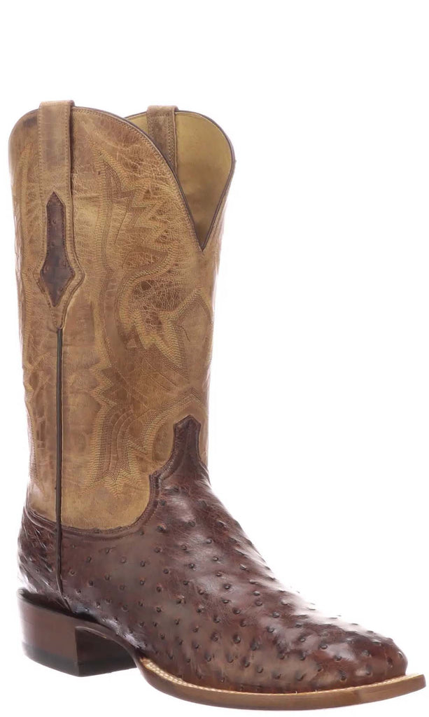 Lucchese Cliff Mens Antique Dark Brown Full Quill Ostrich Boots CL1118