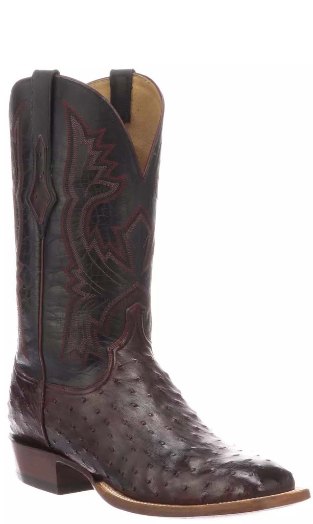 Lucchese CLIFF CL1119.W8 Mens Antique Black Cherry Full Quill Ostrich Boots