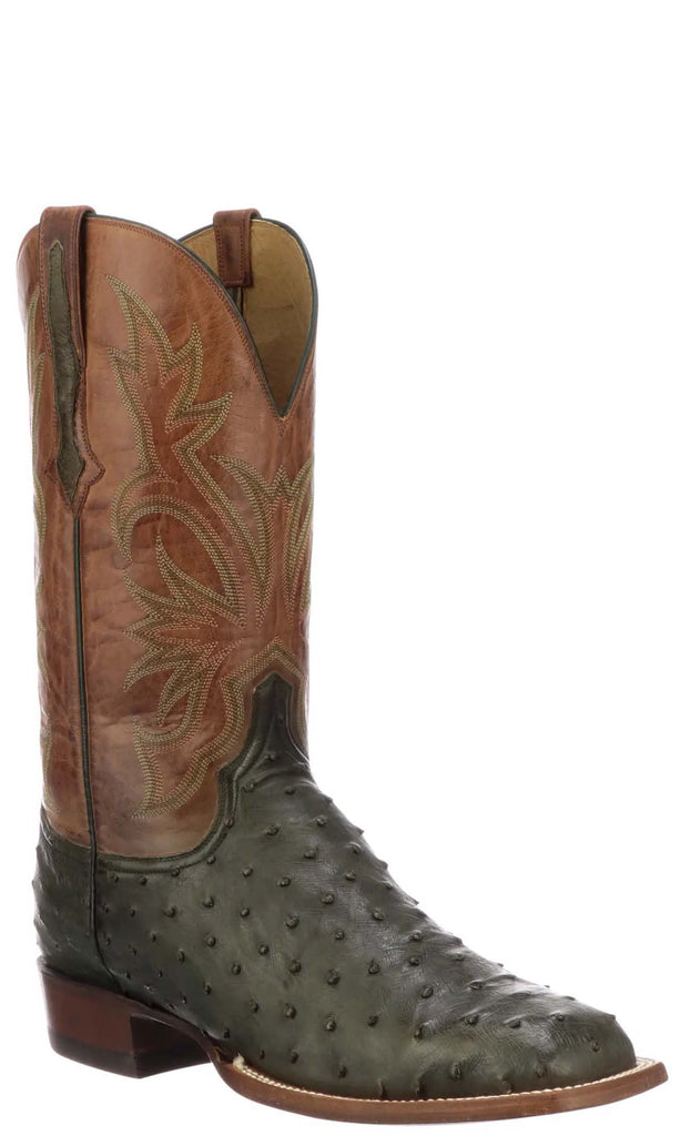Lucchese DIEGO CL1120.W8 Mens Forest Green Full Quill Ostrich Boots