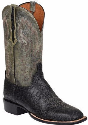 Lucchese CL1512.W8 MILLER Mens Black Bison Horseman Boots