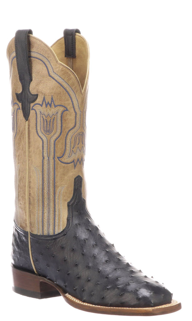 Lucchese Maggie Womens Navy Blue Full Quill Ostrich Boots - Made in America