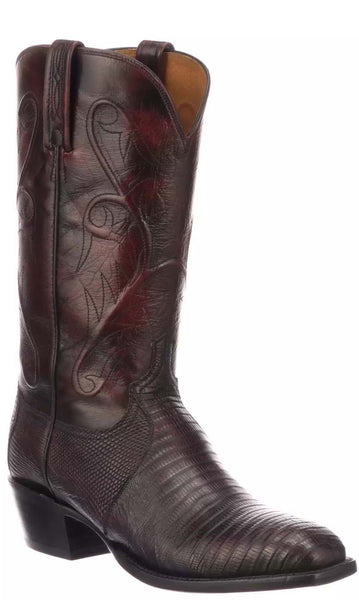 Lucchese Benton CL3005.R3 Mens Black Cherry Lizard Boots