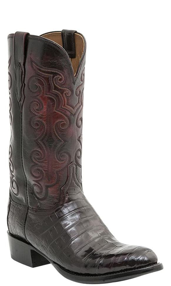 Lucchese CL7771.R3 Mens Black Cherry Ultra Belly Caiman Crocodile Boots