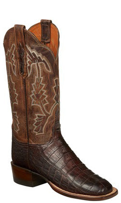 Lucchese CL7897.W8 Womens Barrel Brown Ultra Belly Caiman Crocodile Tail Boots
