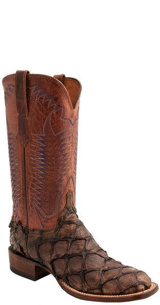 Lucchese CX1013.W8 BROOKS Mens Chocolate Shag Pirarucu Boots Size 11 D STALL STOCK