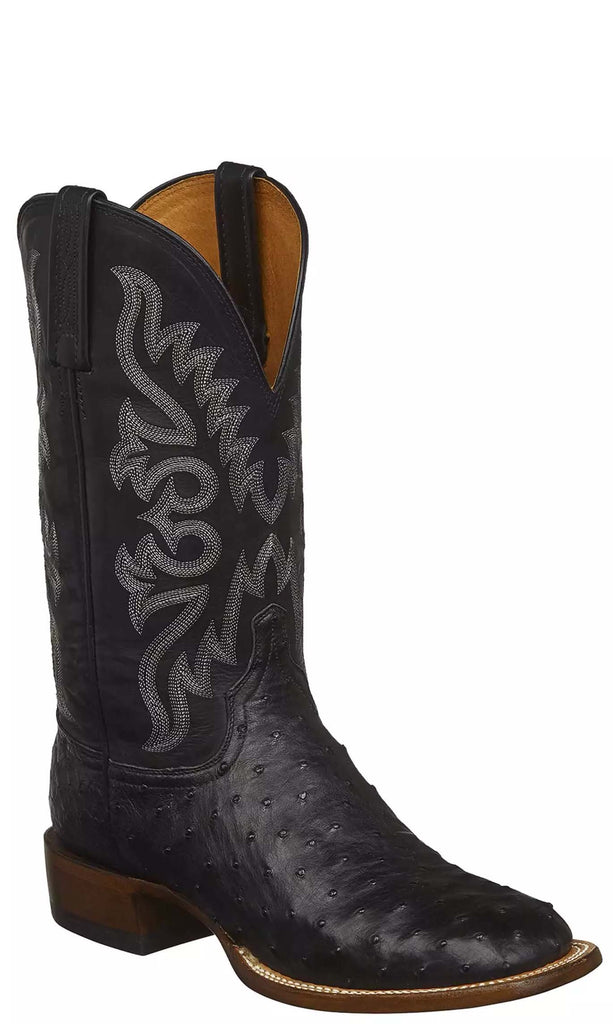 Lucchese HARMON CX1023.W8S Mens Black Full Quill Ostrich Boots