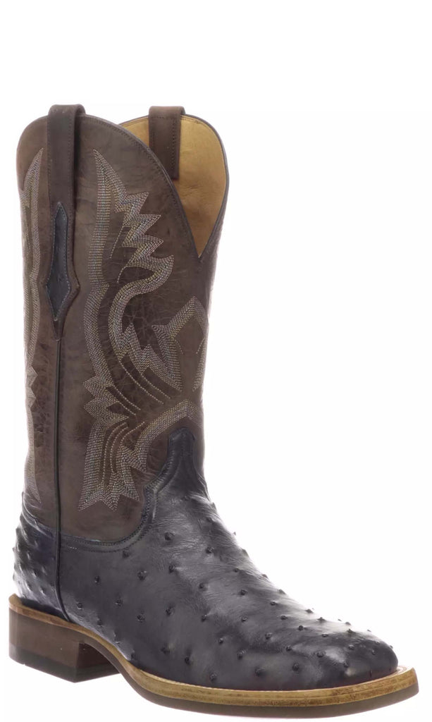 Lucchese CLIFF C1117 Mens Antique Navy Full Quill Ostrich Boots