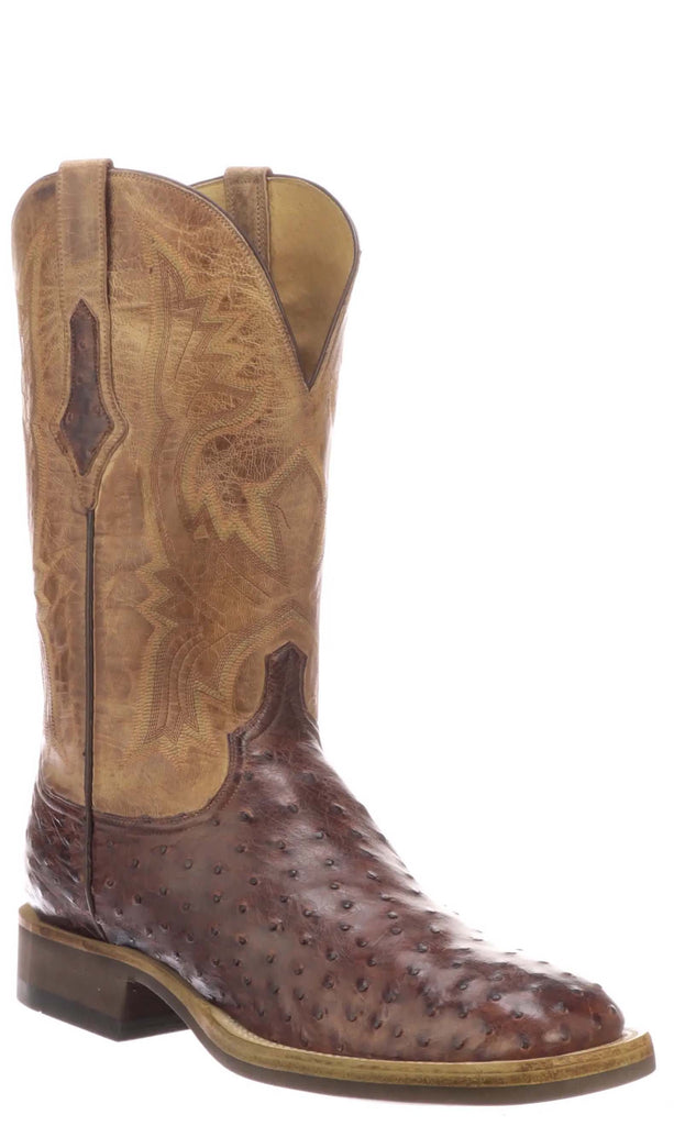 Lucchese Cliff CX1119.W8 Mens Antique Black Cherry Full Quill Ostrich Boots