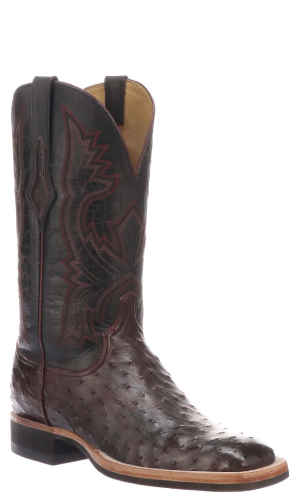 Lucchese Cliff CX1118.W8 Mens Antique Dark Brown Full Quill Ostrich Boots