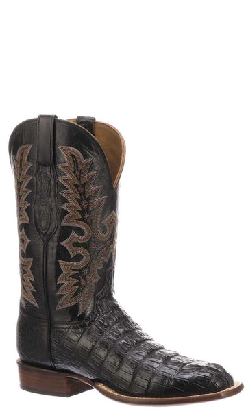 Lucchese  CY7142.W8 Mens Black Hornback Caiman Crocodile Boots
