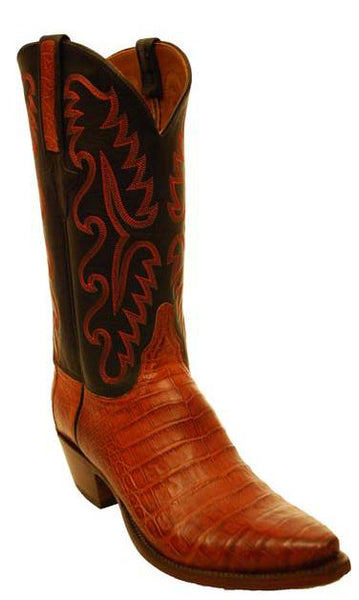 Lucchese Classics E2143 Cognac Burnished Caiaman Crocodile Mens Boots 9 B