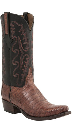 Lucchese Classics E2143 Womens Cognac Burnished Waxy Belly Caiman Crocodile Boots