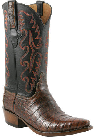 Lucchese Classics E2143 Mens Cognac Burnished Waxy Belly Caiman Crocodile Boots