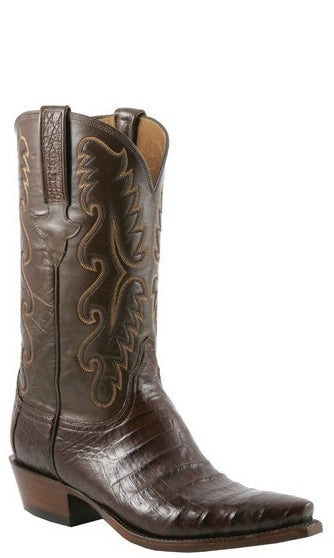 Lucchese Classics E2144.53 Mens Sienna Brown Ultra Belly Caiman Crocodile Cowboy Boots