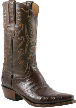 Lucchese Classics E2144.58 Mens Sienna Brown Ultra Belly Caiman Crocodile Boots Size 11.5 3E STALL STOCK