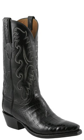 Lucchese Classics E2147.63 Mens Black Ultra Belly Caiman Crocodile Cowboy Boots