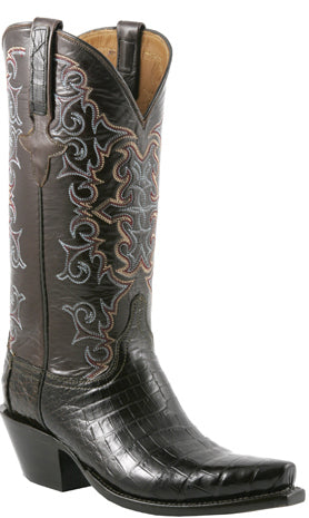 Lucchese Classics E2149 Womens Chocolate Caiman Crocodile Belly Boots