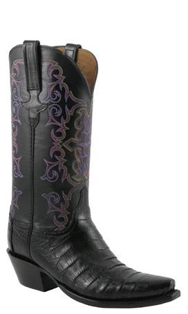 Lucchese Classics E2151 Womens Black Ultra Belly Caiman Crocodile Boots