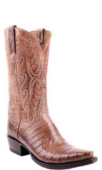 Lucchese Classics E2153 Mens Tan Burnished Ultra Belly Caiman Crocodile Boots