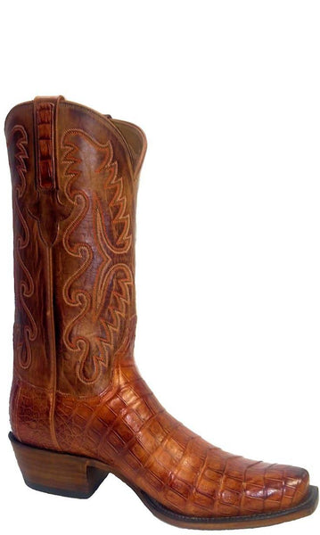 Lucchese Classics E2154 Mens Cognac Burnished Ultra Belly Caiman Crocodile Boots