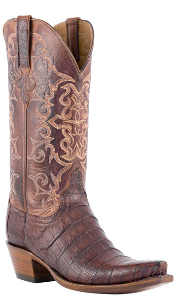 Lucchese Classics E2165 Womens Barrel Brown Belly Caiman Crocodile Boots