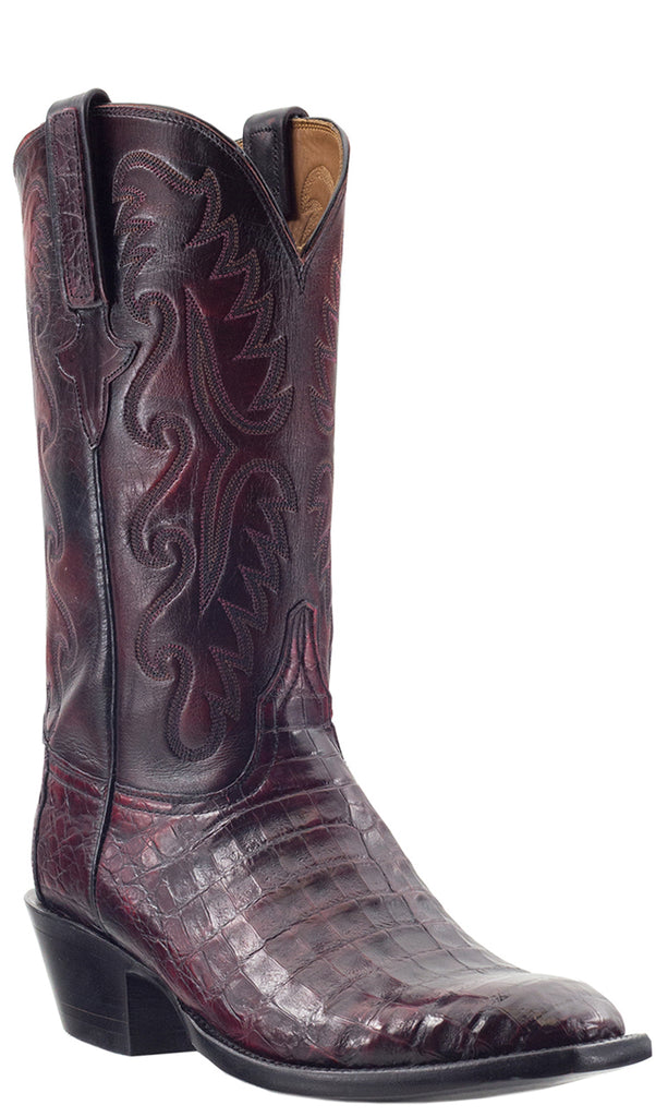 Lucchese Classics E2189 Mens Black Cherry Ultra Belly Caiman Crocodile Boots